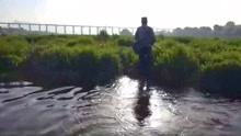 河道水草处点钓黑鱼 不管黑鱼再狡猾的也逃不了