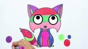 儿童学画画教学:五颜六色的狐狸,学习画画颜色上色
